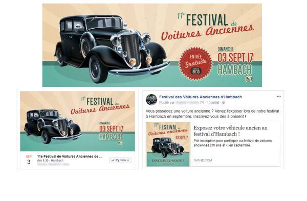 création encarts imagés festival de voitures anciennes hambach
